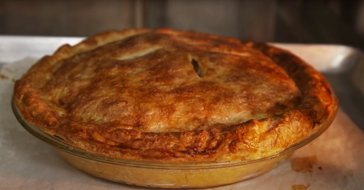 apple pie coming out of the oven