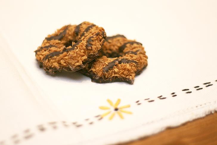 samoas girls scout cookies on napkin
