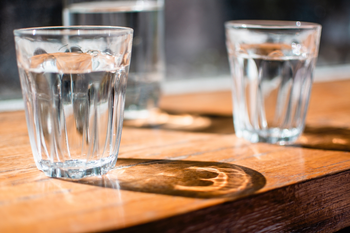 3 glasses of water in the sun