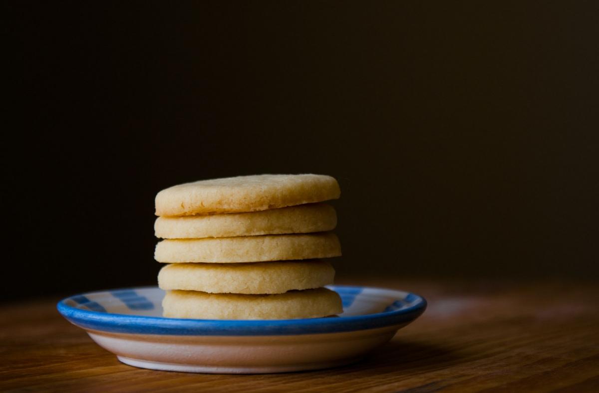 sugar cookies stacked up