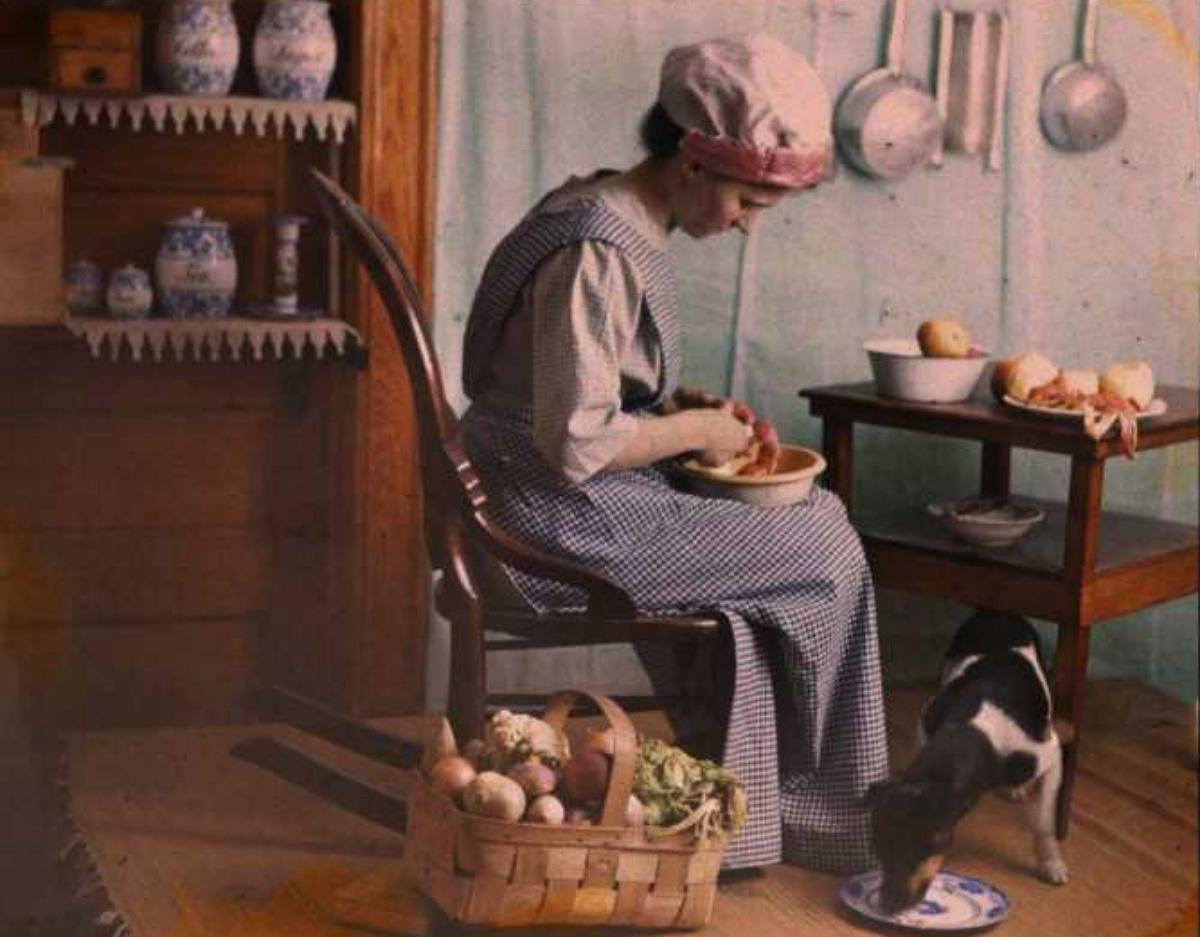 woman preparing food, early 1900s