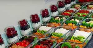 meal prep in glass containers