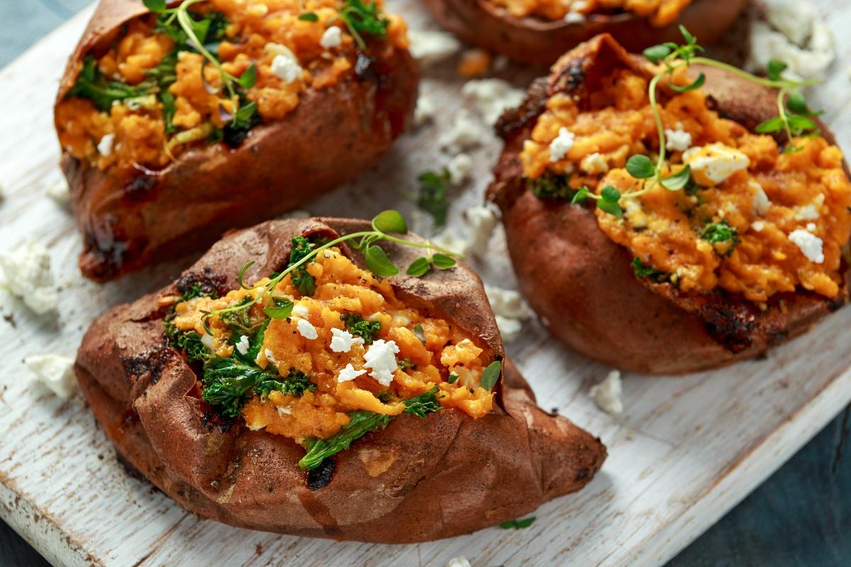 Kale-Stuffed Feta Sweet Potatoes