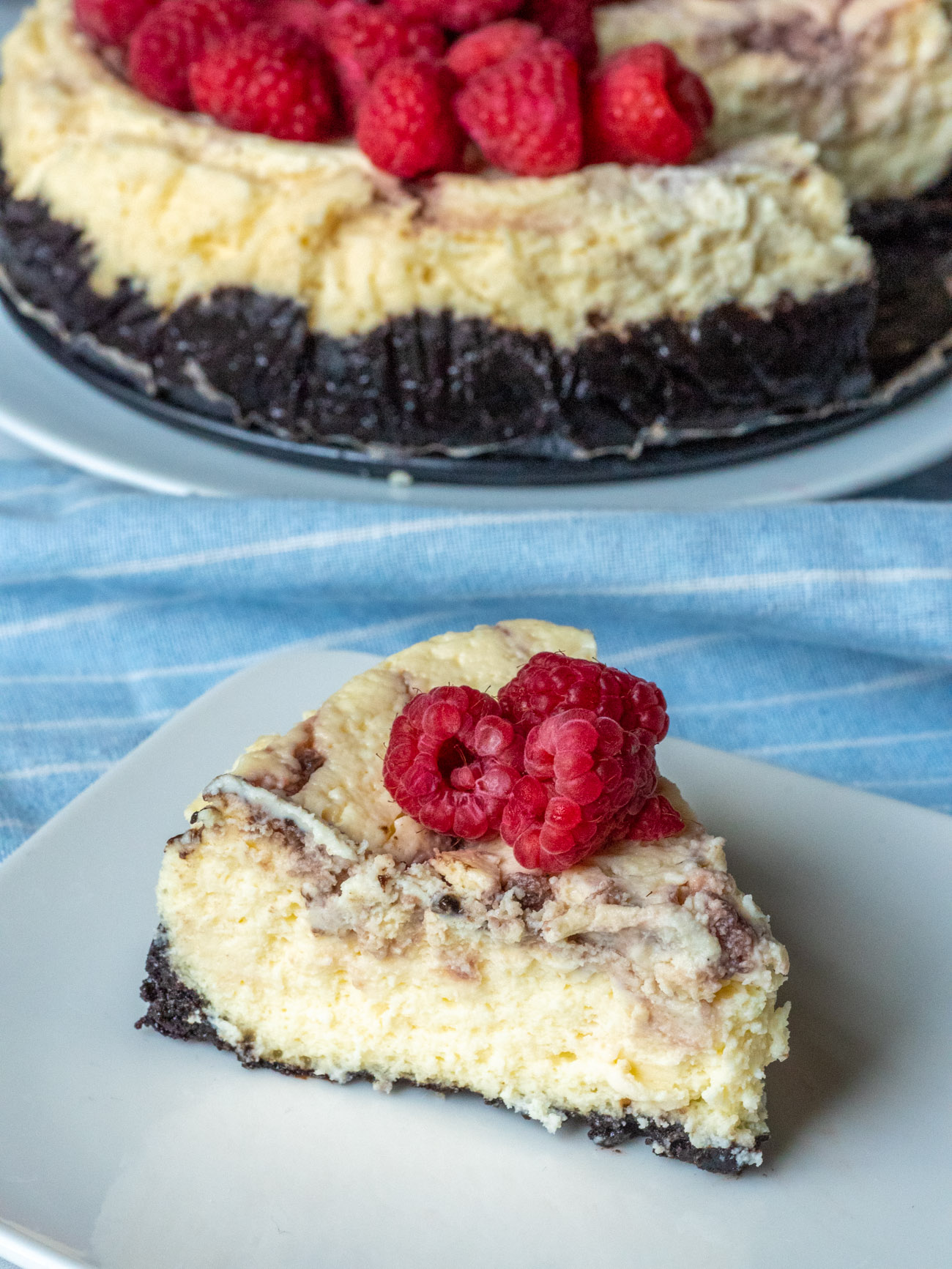 Slow Cooker Chocolate Raspberry Cheesecake