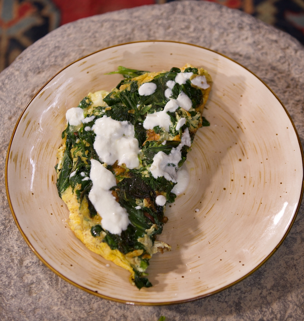 Borani Omelette with Greens