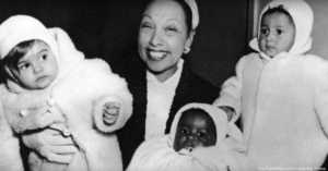 Josephine Baker with 3 of Her Adopted Children
