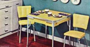 Yellow and Chrome Mid-century Dinette Set