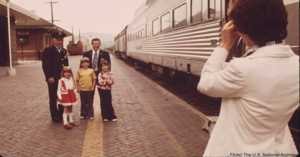 1974 Polyester-clad family by train