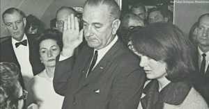 Cecil W. Stoughton's photo of LBJ's swearing in after JFK's assasination