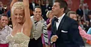 Jerry Lewis and Sheree North doing the jitterbug in Living It Up