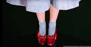 The Ruby slippers Judy Garland wore in The Wizard of Oz.
