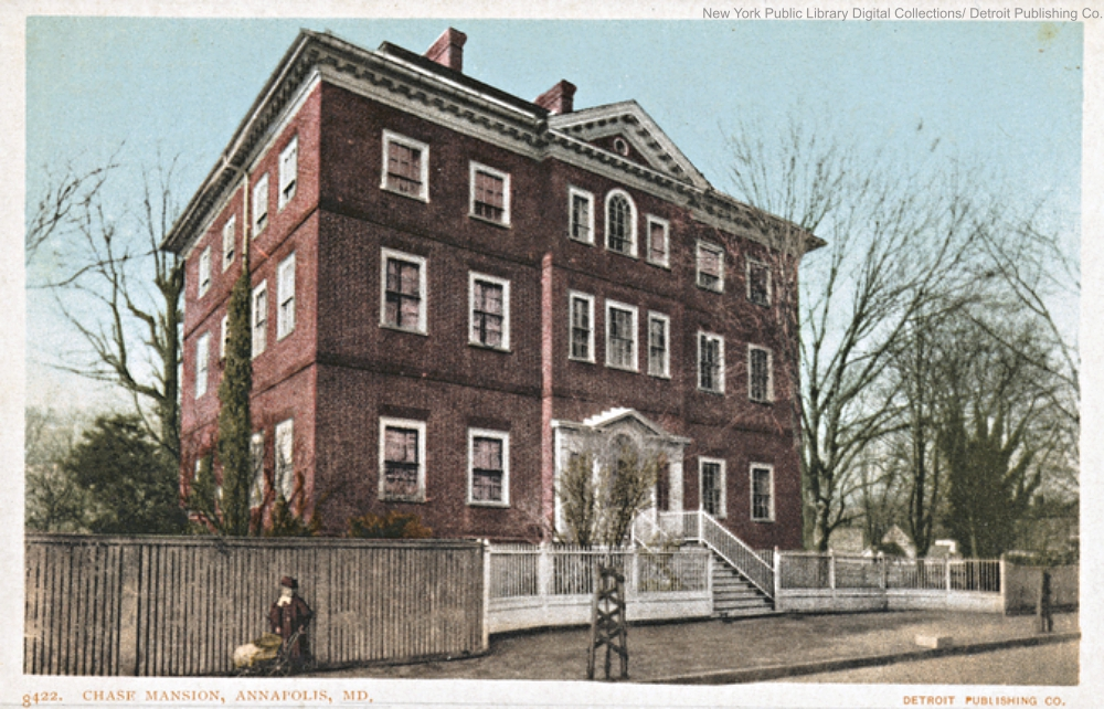 Postcard of Chase-Lloyd House in Annapolis, MD.