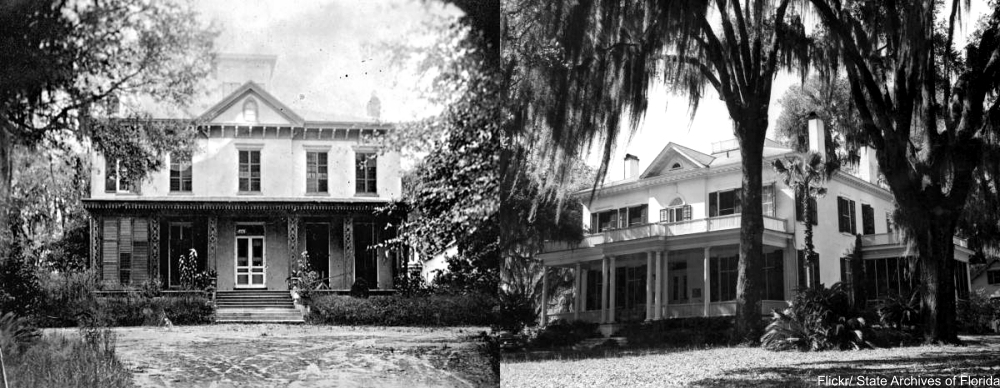Goodwood Plantation before renovation on left (1917) and after (1958), Tallahassee, FL.