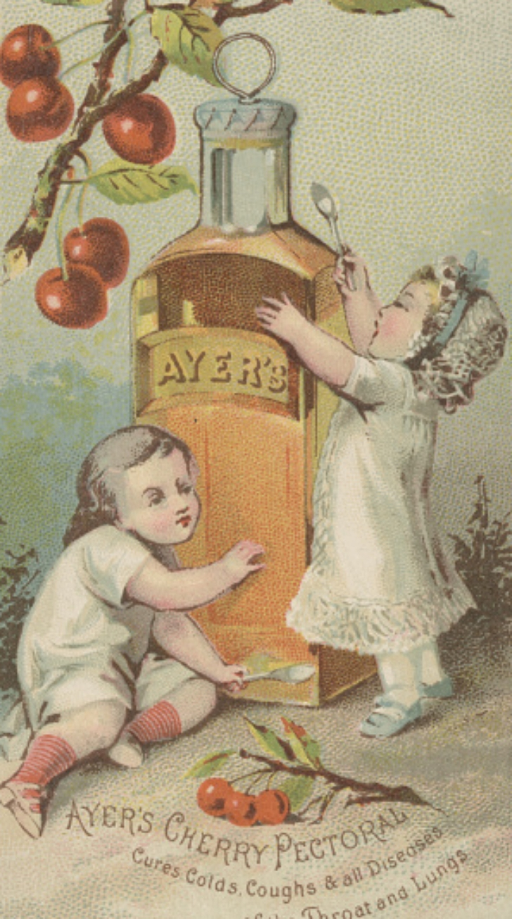 cherry cough syrup ad from the early 20th century