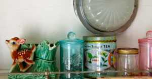 20th century tea tin reused for storing small items