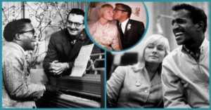 collage of May Britt and Sammy Davis, Jr.
