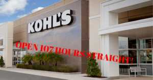 Kohl's to be open 107 hours straight this holiday season
