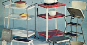 1963 Gold Bell stamp catalog showing metal kitchen step stool