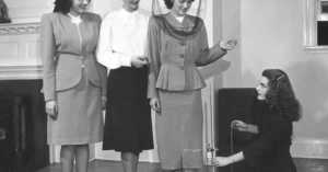 members of the Little Below the Knee Club take up hemlines in protest of the New Look, 1947