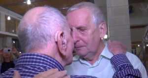 emotional reunion of Eliahu Pietruszka, Holocaust survivor, and his nephew