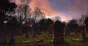 beautiful sunset in a cemetery