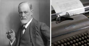 collage of Sigmund Freud and a typewriter