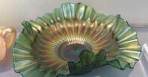 early 20th ruffled carnival glass