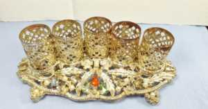 gold filigree vintage lipstick holder