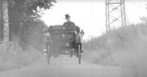Karl-Heinz Rehkopf driving his 1894 Benz Victoria car