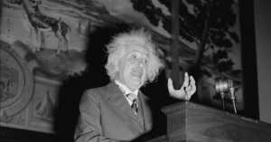 Albert Einstein giving a lecture in 1940