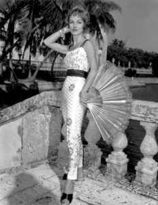 1958 fashion model wearing pants and matching tank top