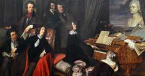 painting of Franz Liszt performing for a group of 19th century intellectuals