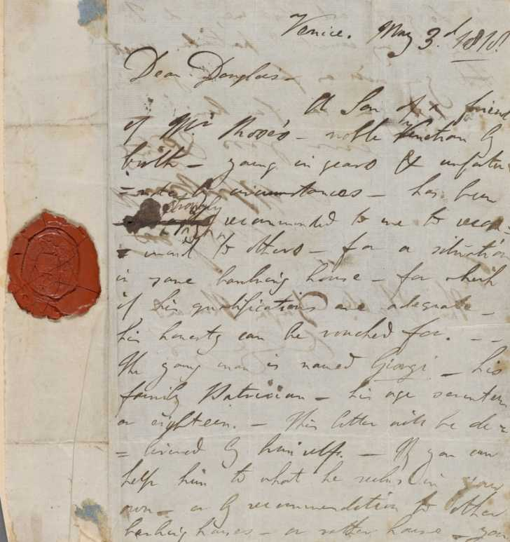 letter from 1818 showing red wax seal