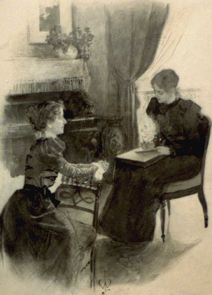 illustration of 2 women writing letters, late 1800s