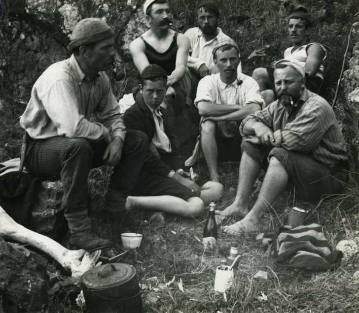 whalers relaxing in their off time, New Zealand, early 20th century