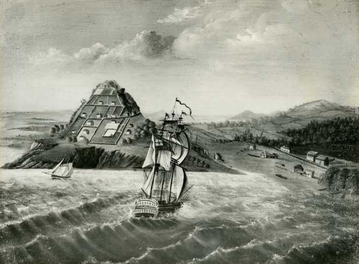19th century depiction of the place where the first Christian sermon was delivered in New Zealand