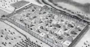 drawing of first English settlement in Maryland