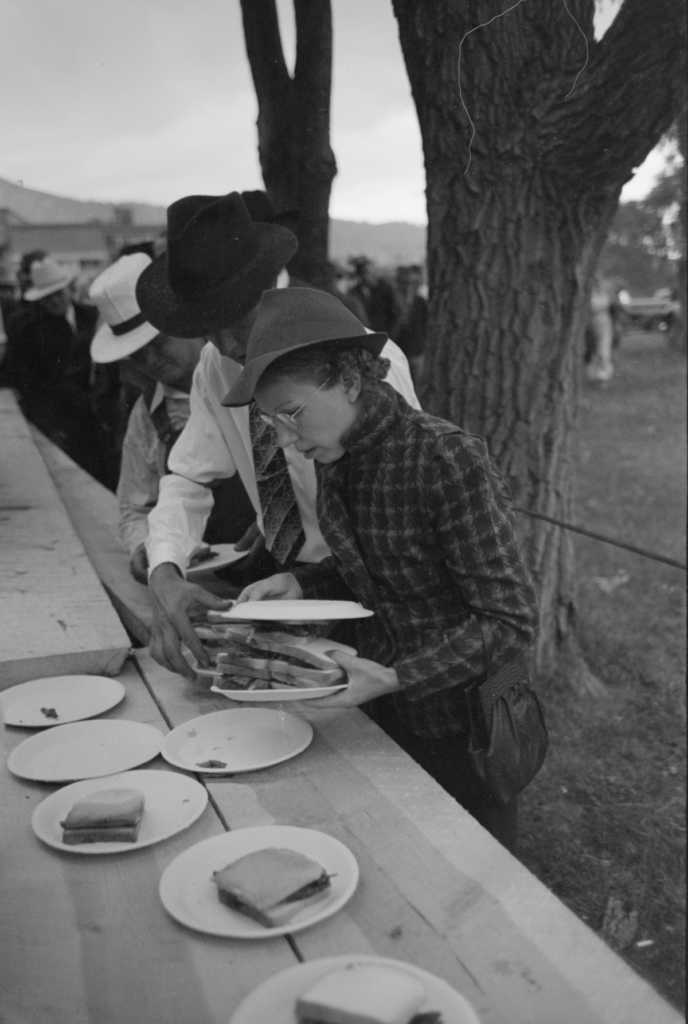 sandwiches set out at a Labor Day picnic