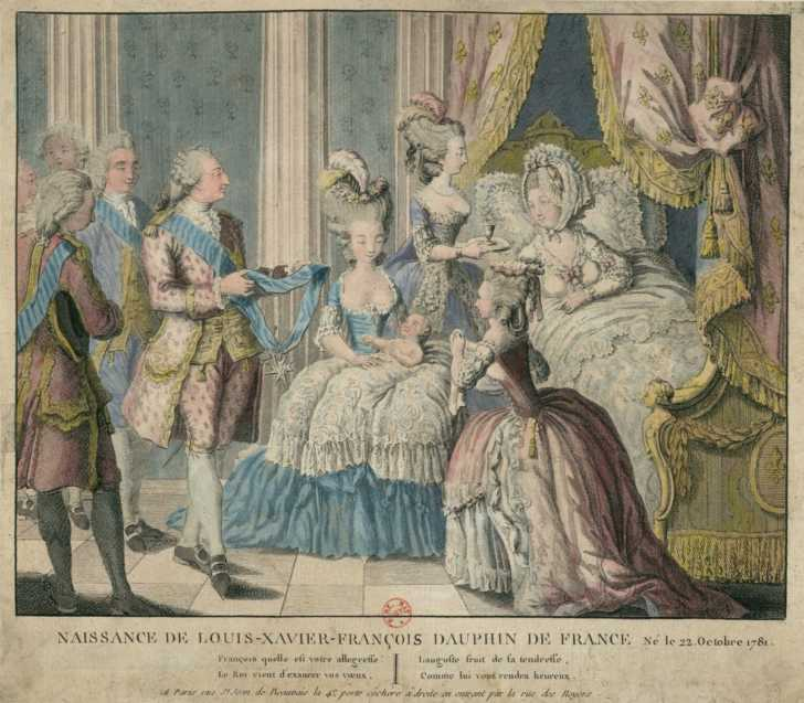 depiction of thee birth of Louis Xavier Francois, second child of Marie Antoinette and King Louis VXI