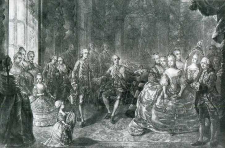 illustration of the morning levee of the Marie Antoinette