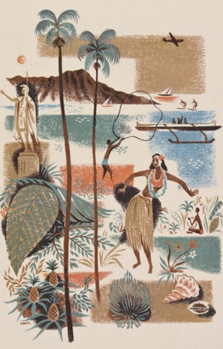illustration og Hawaiian style imagery