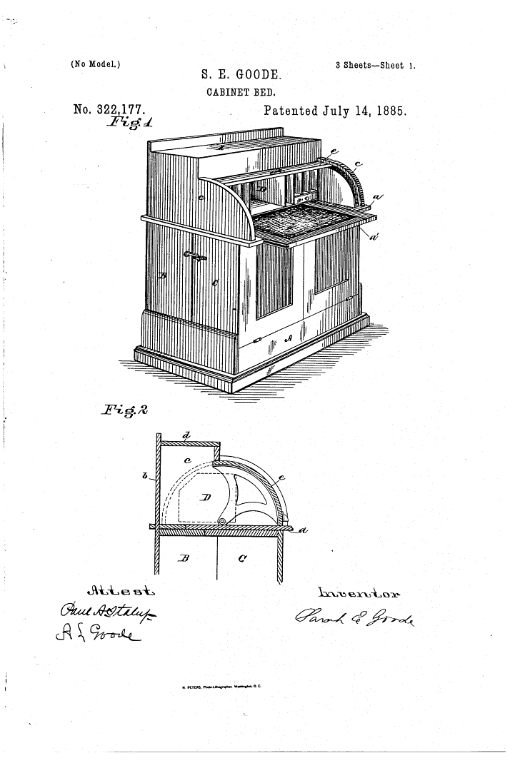 1885 patent by Sarah Goode for a cabinet bed