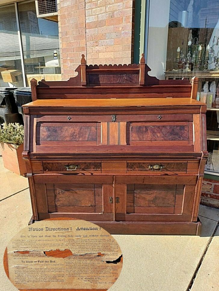 Eastlake style desk cabinet bed