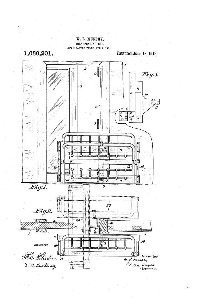 1911 Murphy bed patent