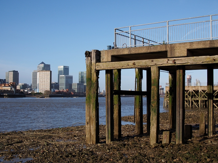 on the banks of the River Thames in modern day London