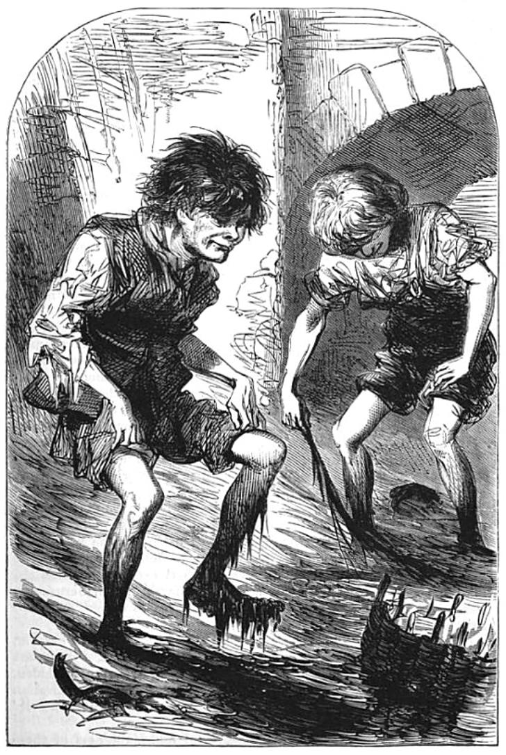 drawing of mudlarks from 1871