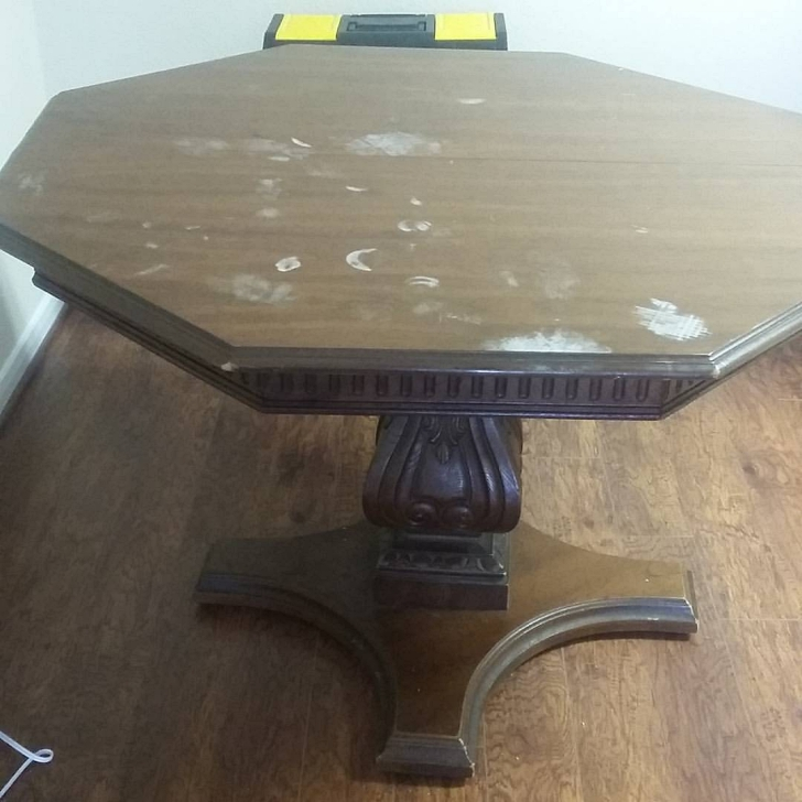 vintage table with heat damage on top