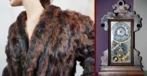 heirloom items of a fur coat and antique mantle clock