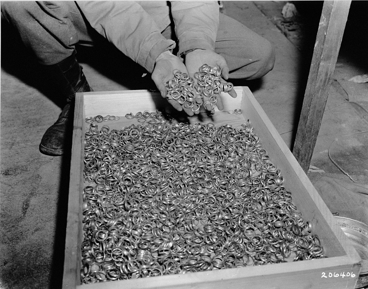 rings taken from victims at Buchenwald concentration camp