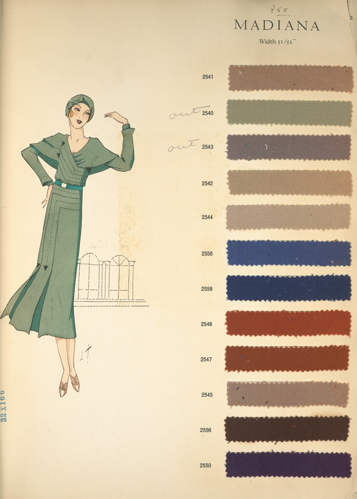 fashion design from 1931 with fabric color samples